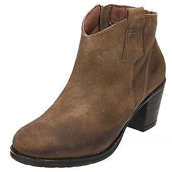 JWF brun ruskind læder blok hæl cowboystøvler Chelsea ankel