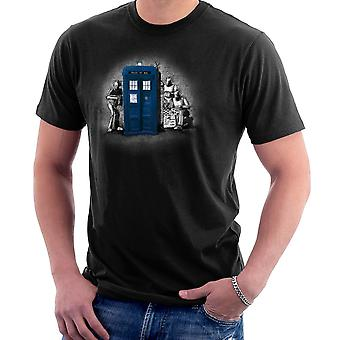 BankCy Doctor Who Tardis Cybermen Street Art Men's T-Shirt