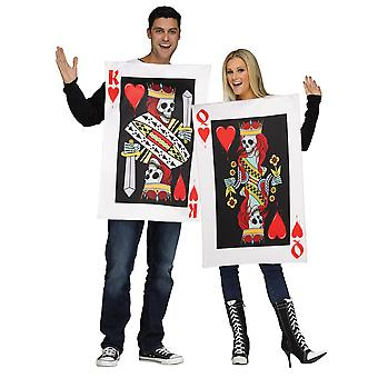 Dark King & Queen Of Hearts Playing Card Skulls Couple Men Women Costume