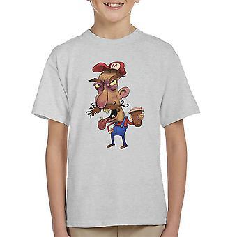 Super Mario Bros Mario voordat koffie Kid's T-Shirt