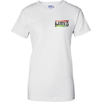 リビア グランジ国名フラグの効果 - 女性胸デザイン t シャツ