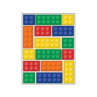 Creative Party Building Blocks Party Value Stickers (Pack of 4)