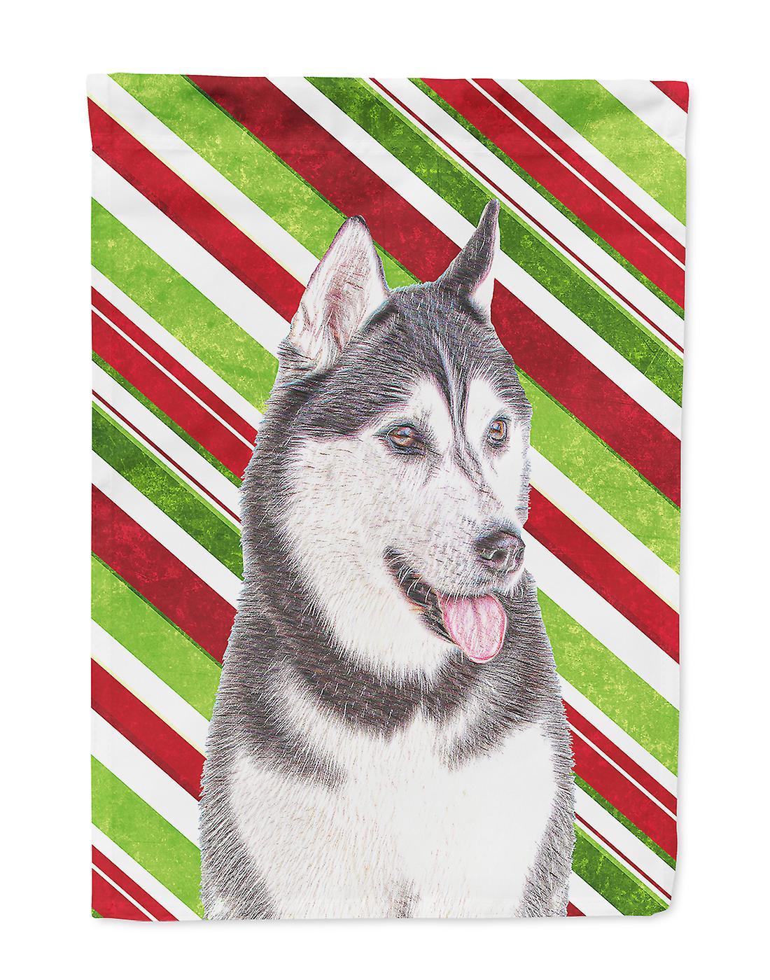 Candy Cane vacances Noël Malamute d'Alaska drapeau Taille maison du canevas