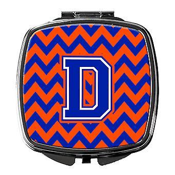 Carolines Treasures  CJ1044-DSCM Letter D Chevron Orange and Blue Compact Mirror