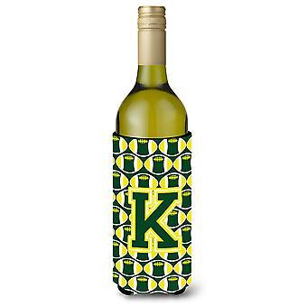 Letter K Football Green and Yellow Wine Bottle Beverage Insulator Hugger