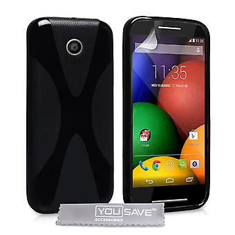 Yousave Accessories Motorola Moto E Silicone Gel X-Line Case - Black
