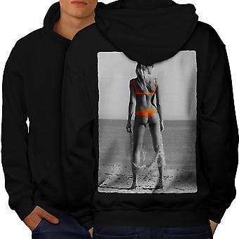 Strand pige Bikini sexede mænd BlackHoodie tilbage | Wellcoda