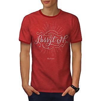 Het doorgeven van mannen Heather rood / RedRinger T-shirt | Wellcoda