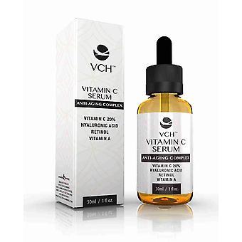 VCH 20% vitamina C Serum con ácido hialurónico, Retinol y vitamina A - 1 frasco con 30ml + 30ml libre - suero de vitamina C Anti-Aging - evolución adelgazar