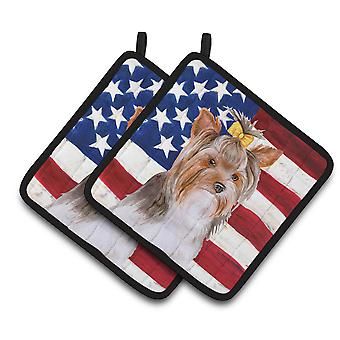 Yorkshire Terrier #2 Patriotic Pair of Pot Holders