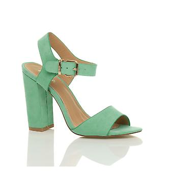 Ajvani womens hoge blok hiel enkelbandje buckle gluren teen schoenen sandalen