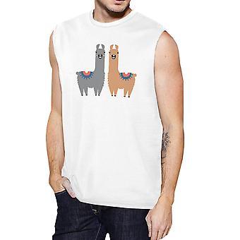 Llama Pattern Mens White Muscle T-Shirt