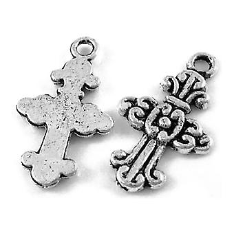 Packet 20 x Antique Silver Tibetan 24mm Cross Charm/Pendant ZX13860