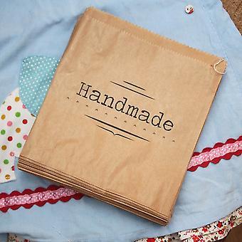 Luck And Luck Kraft Brown 'Handmade' Bag - Craft / Shop Paper Bags x 90