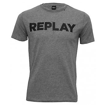 Replay Bold Logo Crew-Neck T-Shirt, Grey Melange