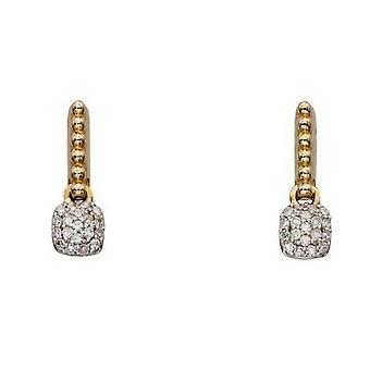 Elements Gold Bobble and Diamond Pave Cushion Drop Earrings - Gold/Clear