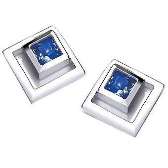 Cavendish French Square in Square Earrings - Silver/Blue