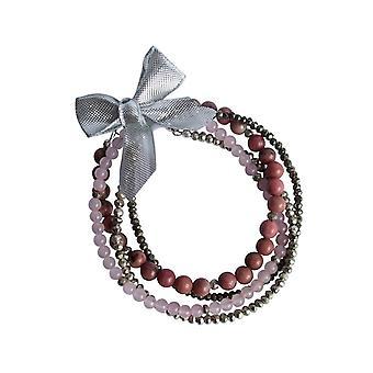 Gemshine - sonho de senhoras - conjunto de pulseira - Rosa - Rose Quartz - prata 925