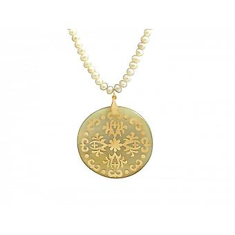 Necklace - Medallion - 5 cm Pearl - mother of Pearl - gold plated - bronze - grey - white-