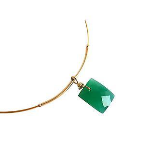 Collier złoty zielony naszyjnik onyks GREENY pozłacane