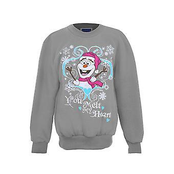 Girls XMAS Festive Christmas Snowman Olaf Frozen Children's Fleece Lined Jumper