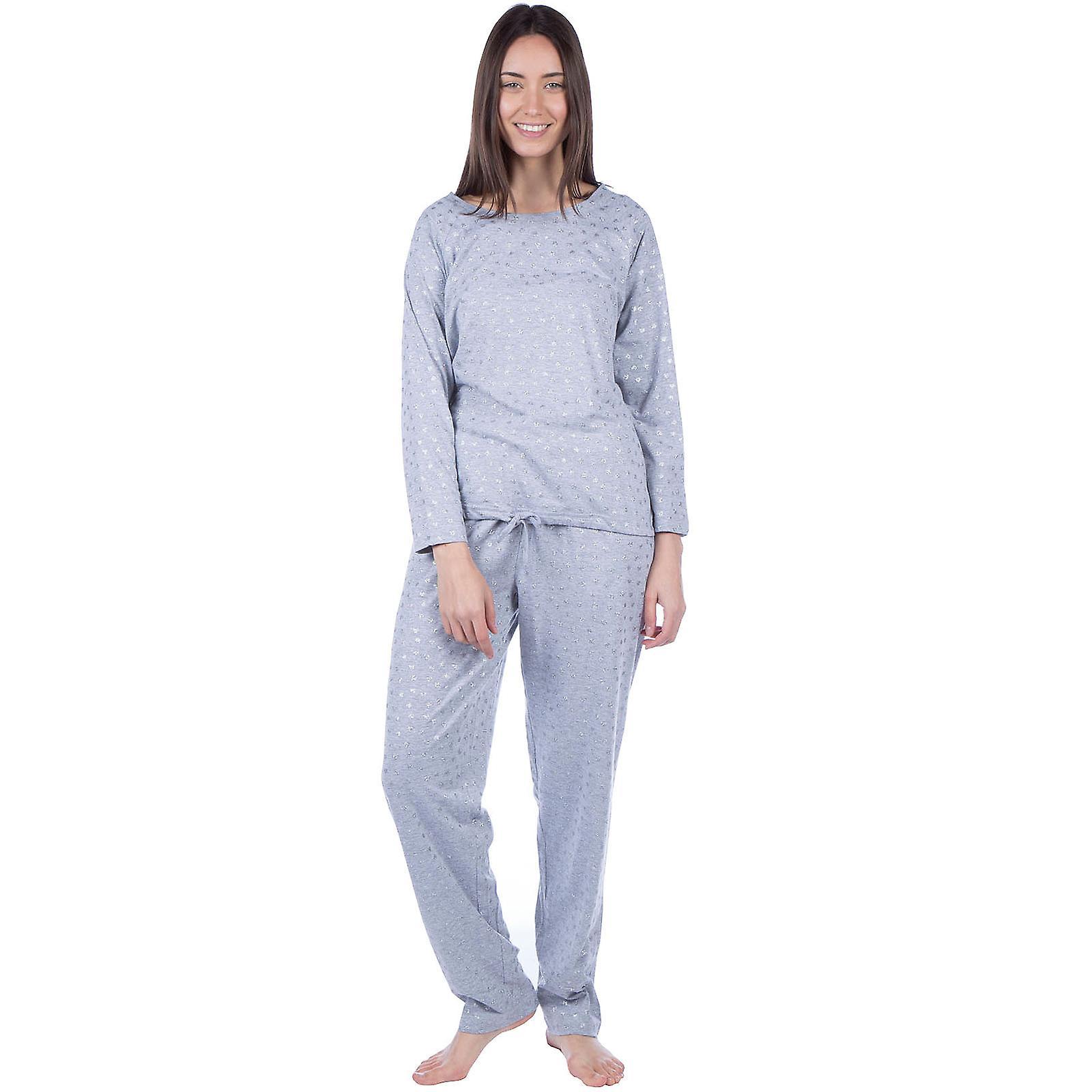 Masq Womens Long Sleeve Cotton Loungewear Sleepwear Top and Bottom Pyjama Set