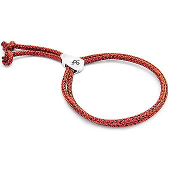 Anchor and Crew Pembroke Silver and Rope Bracelet - Red Noir