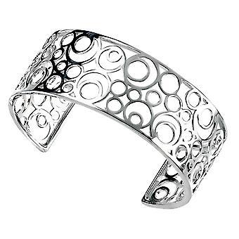 Elements Silver Circles Openwork Cuff Bangle - Silver