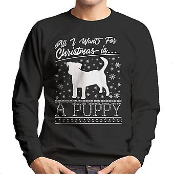 All I Want For Christmas Is A Puppy Knit Pattern Men's Sweatshirt