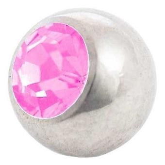 Ersatz Kugel, Piercing, rosa Stein   1,2 x 3 und 4 mm, Körperschmuck