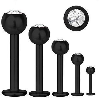 Labret Bar Tragus Piercing Black Titanium 1,6mm, SWAROVSKI ELEMENTS White | 5-16