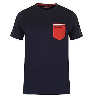 Pierre Cardin Mens Single Contrast Pocket T Shirt Crew Neck Tee Top Short Sleeve