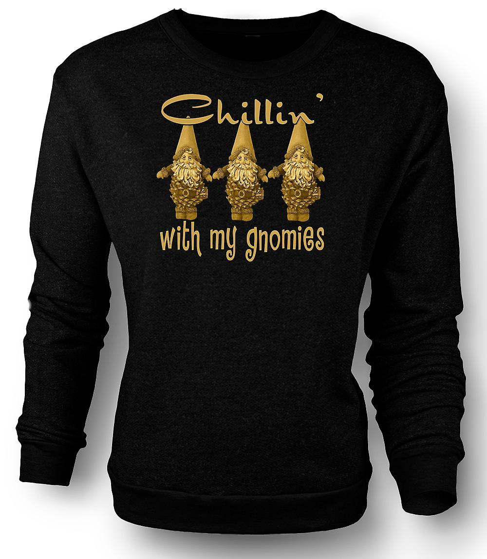 Mens Sweatshirt Chillin With Gnomies - Funny
