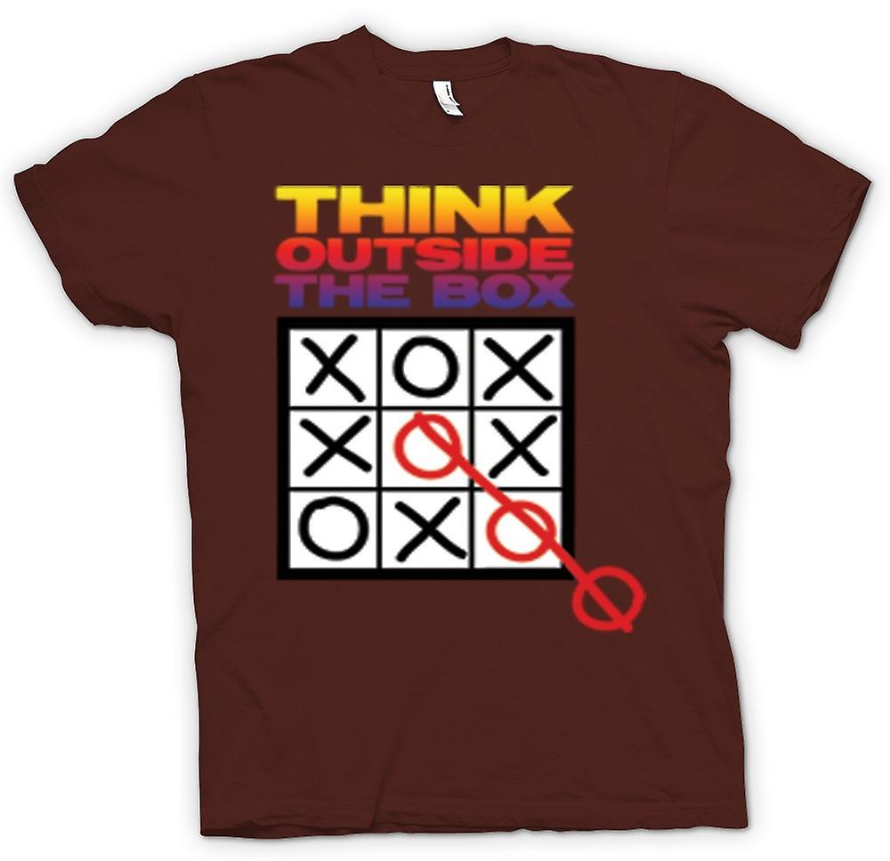 Denken Sie Mens T-shirt - außerhalb der Box-Tic-Tac-Toe