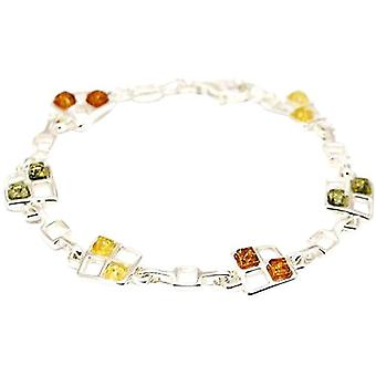 925 Silver Tri-Colour Amber Bracelet By TOC AM157