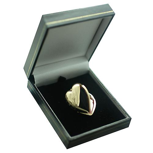 9ct Gold 30x28mm half hand engraved heart Locket