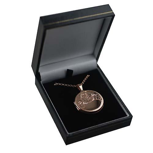 9ct Rose Gold 29mm half hand engraved flat round Locket with a belcher Chain 16 inches Only Suitable for Children