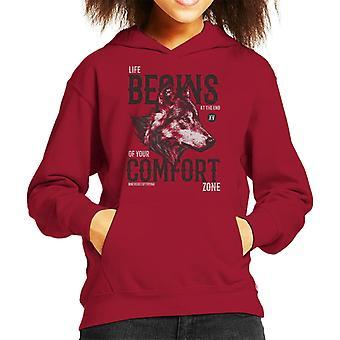 Het leven van de Wolf begint aan het einde van je comfortzone Kid's Hooded Sweatshirt