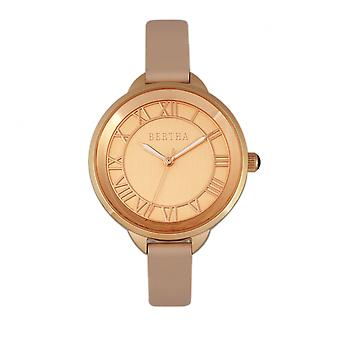 Bertha Madison Sunray Dial Leather-Band Watch - Light Pink/Rose Gold