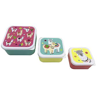 Lama lunch boxes set of 3 set green/yellow/red, printed, 100% plastic.