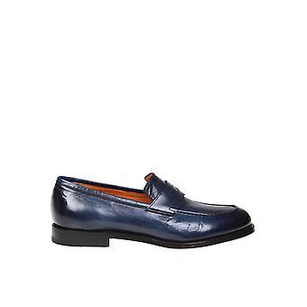 Santoni Blue Leather Loafers