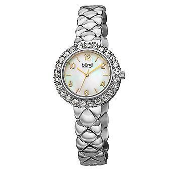 Burgi Women's Swiss Quartz Swarovski Crystals Stainless Steel Silver-Tone Bracelet Watch BUR113SS
