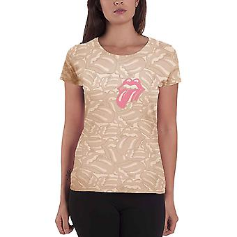 The Rolling Stones T Shirt Tongue Official Womens New All Over Print Skinny Fit