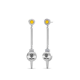 Valparaiso University - Valpo Logo Engraved Diamond Enamel Dangle Earrings In Yellow