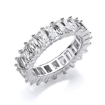 Jewelco London Ladies Rhodium Plated Sterling Silver white emerald-cut cubic Zirconia Wide 4 Claw Eternity Ring