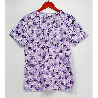 Denim & Co. Top Short Sleeve Round Neck Tropical Print Purple A275867