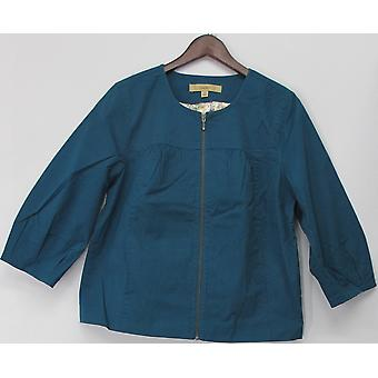 Devise Collarless Zip Front Cropped Veste Dusty Teal Blue A91770