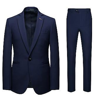 Allthemen Men's 2-piece Suits Business Casual Solid Blazer&Trousers