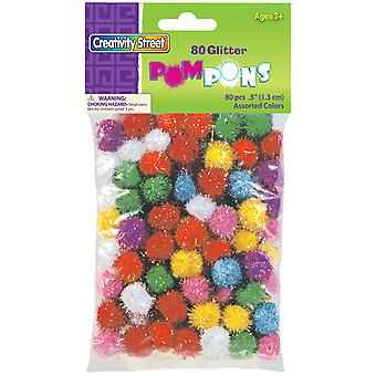 Pom Pons Glitter Pack 80 Pkg Assorted Colors & Sizes 8116 01