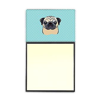 Checkerboard Blue Fawn Pug Refiillable Sticky Note Holder or Postit Note Dispenser BB1200SN